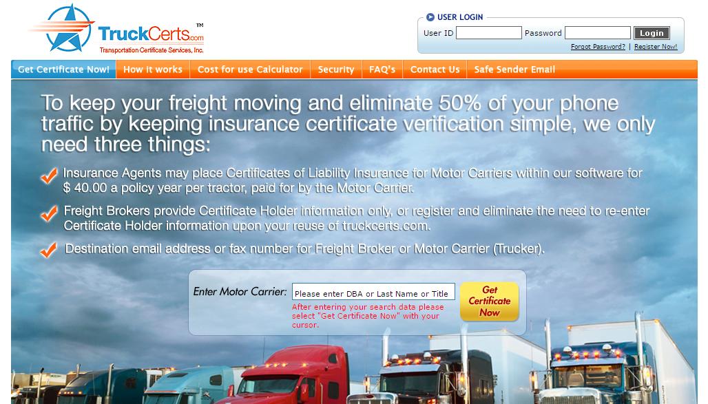 Truckcerts Homepage